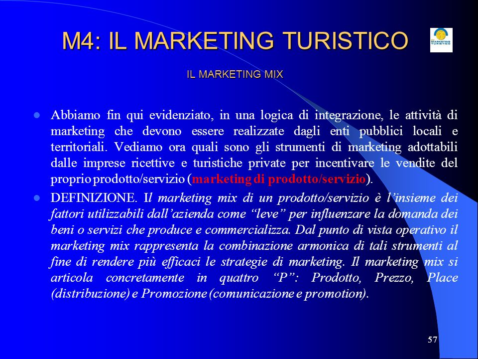 M4: IL MARKETING TURISTICO