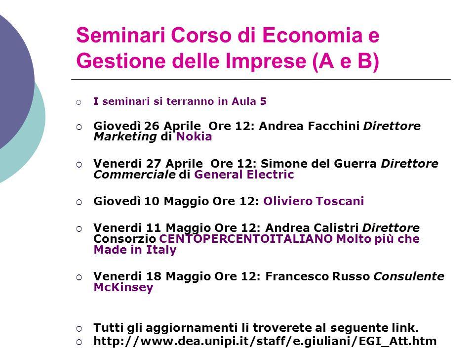 Seminari Corso di Economia e Gestione delle Imprese (A e B)