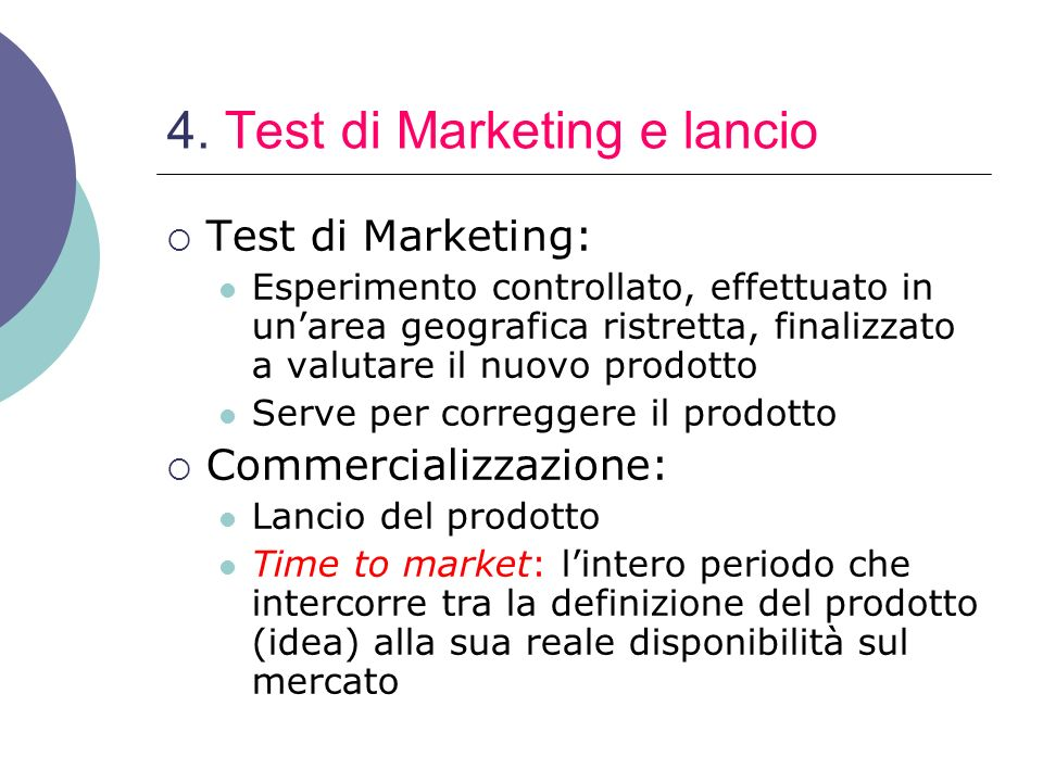 4. Test di Marketing e lancio