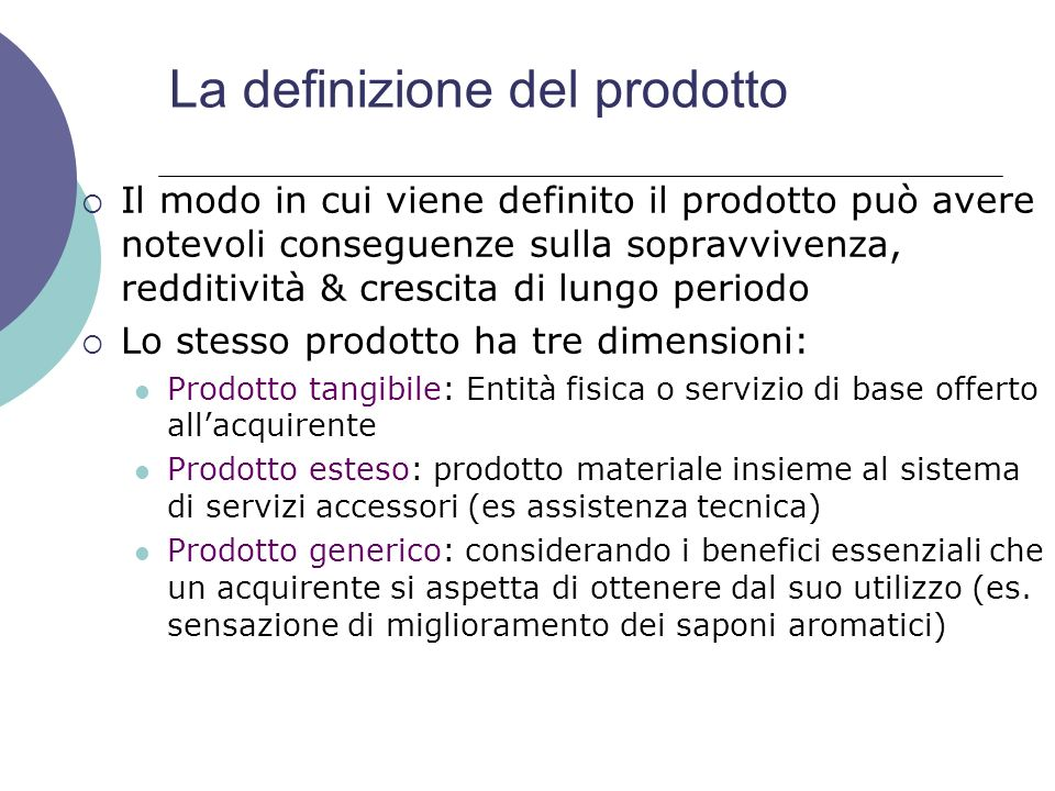 La definizione del prodotto