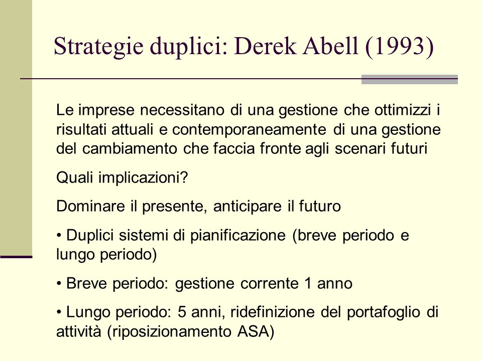 Strategie duplici: Derek Abell (1993)