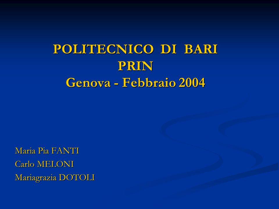 POLITECNICO DI BARI PRIN Genova - Febbraio 2004