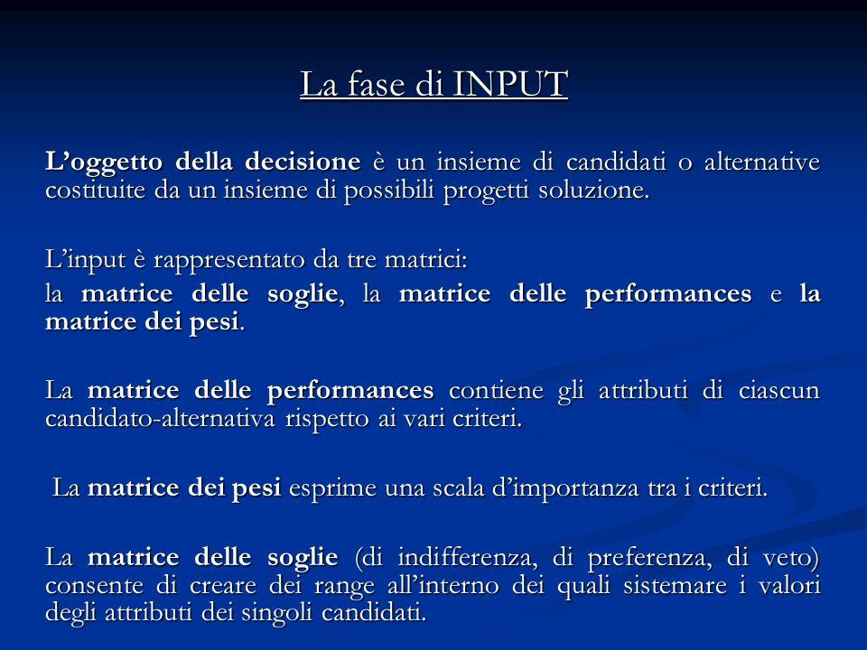 La fase di INPUT L'oggetto della decisione è un insieme di candidati o alternative costituite da un insieme di possibili progetti soluzione.
