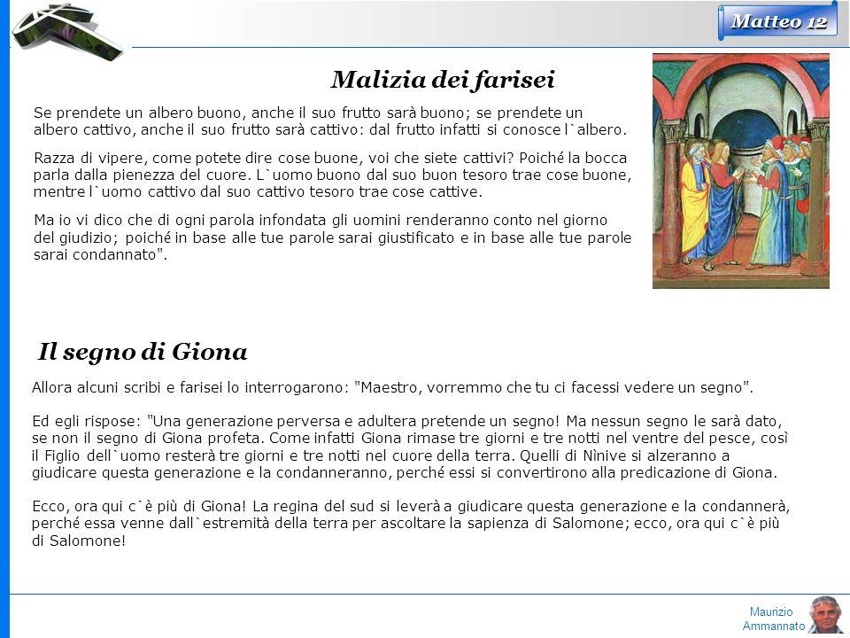 Malizia dei farisei Il segno di Giona Matteo 12