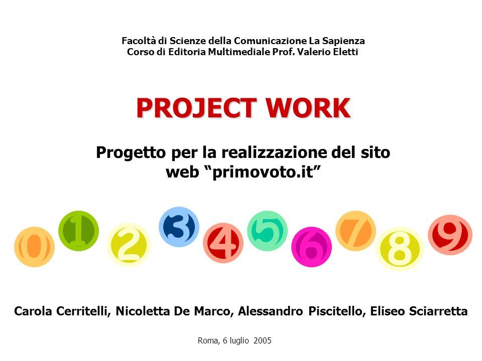 Progetto per la realizzazione del sito web primovoto.it