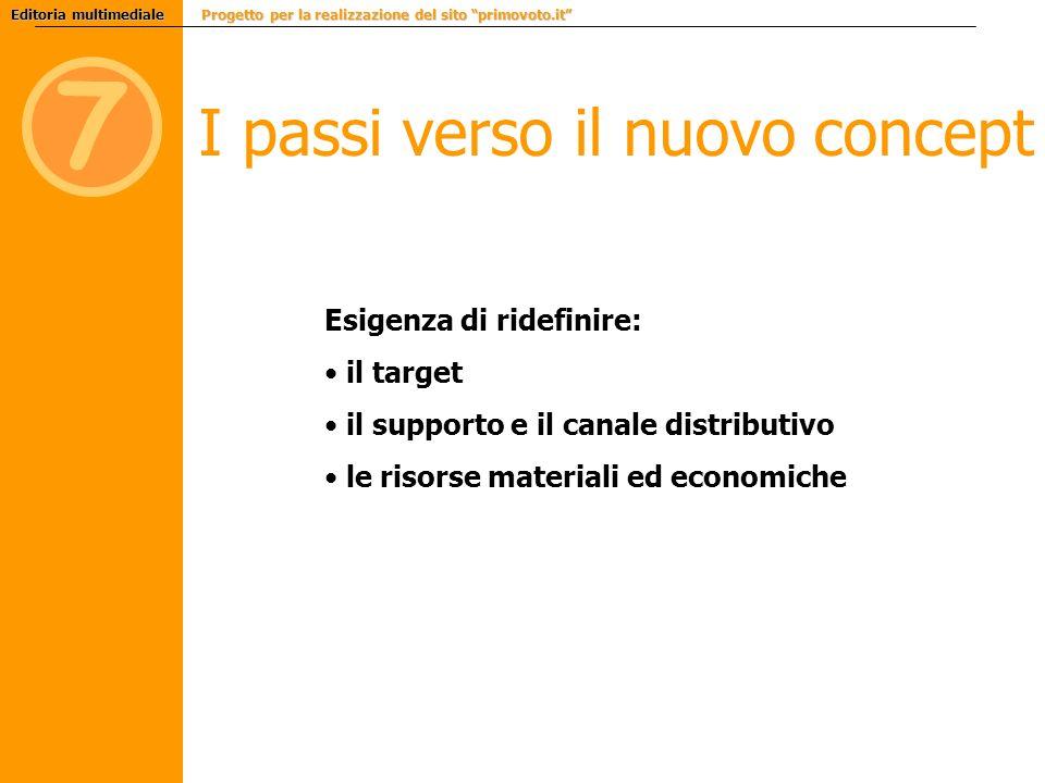7 I passi verso il nuovo concept Esigenza di ridefinire: il target