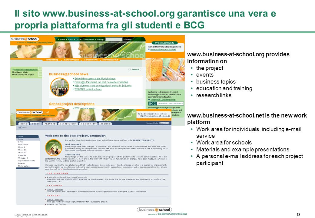 Il sito www. business-at-school