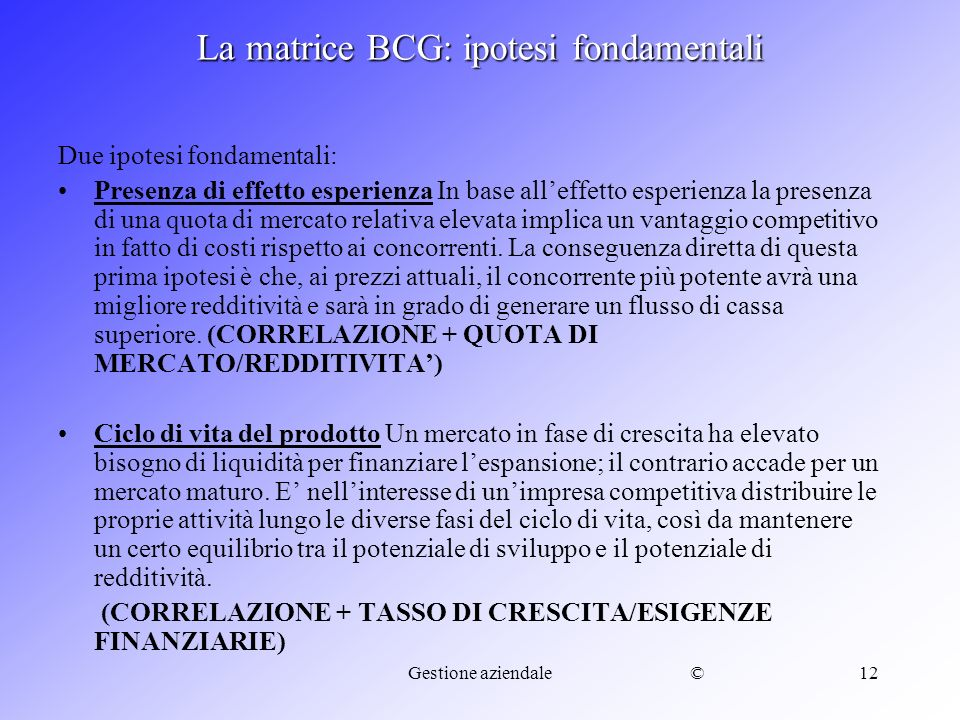La matrice BCG: ipotesi fondamentali