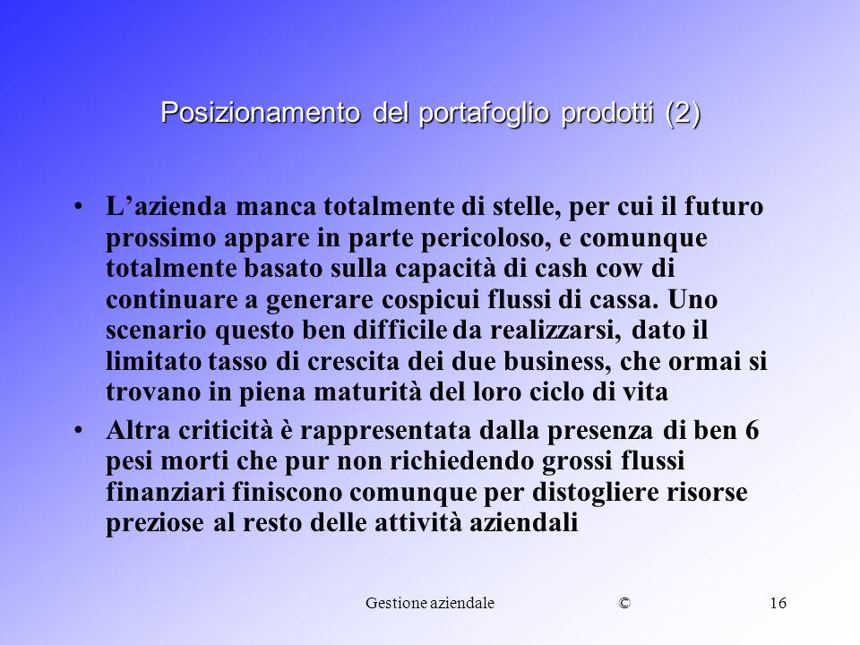 Posizionamento del portafoglio prodotti (2)
