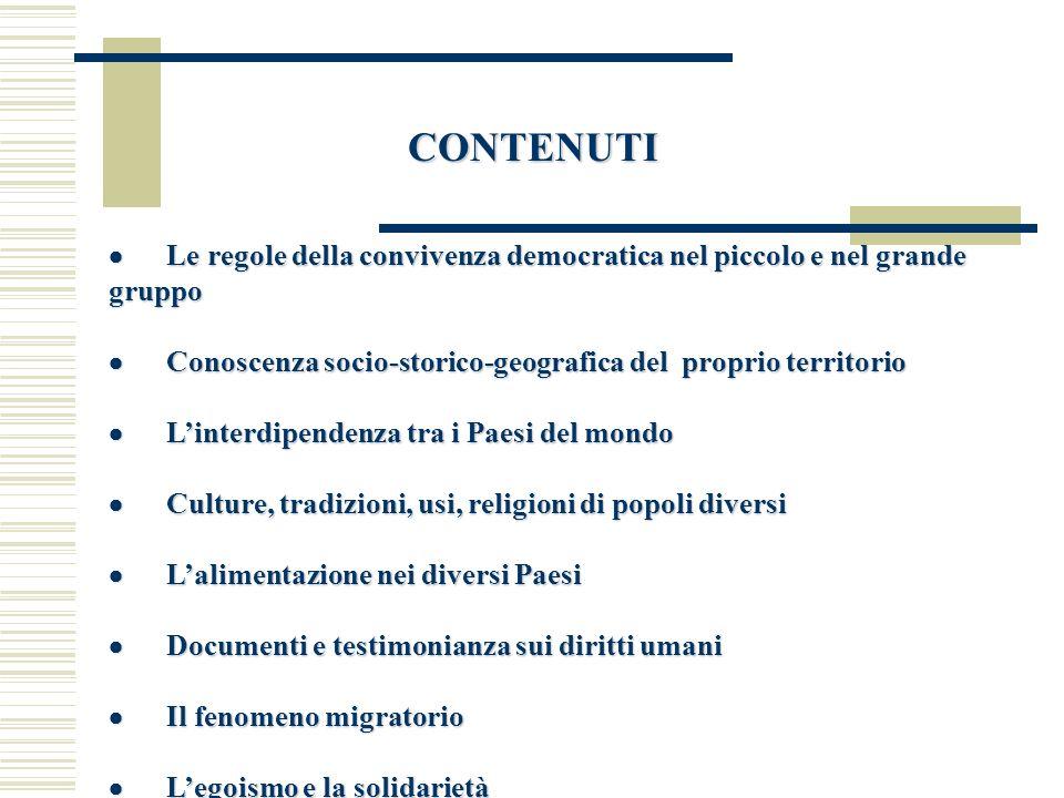 CONTENUTI · Le regole della convivenza democratica nel piccolo e nel grande gruppo.