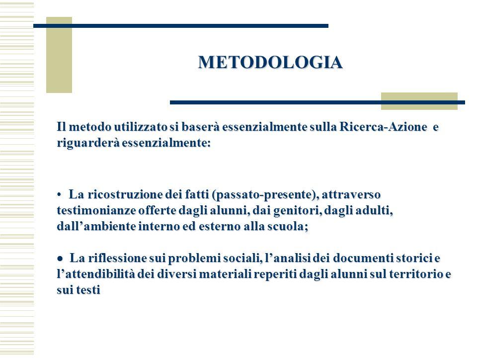 METODOLOGIA Il metodo utilizzato si baserà essenzialmente sulla Ricerca-Azione e riguarderà essenzialmente: