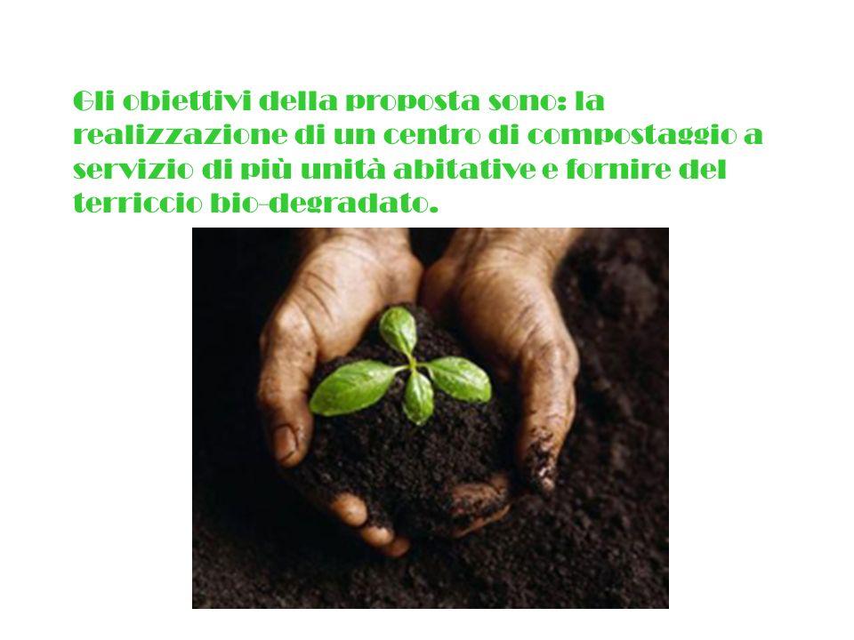 Gli obiettivi della proposta sono: la realizzazione di un centro di compostaggio a servizio di più unità abitative e fornire del terriccio bio-degradato.