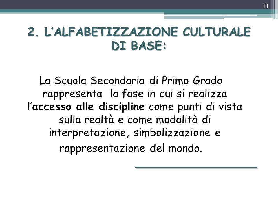 2. L'ALFABETIZZAZIONE CULTURALE DI BASE: