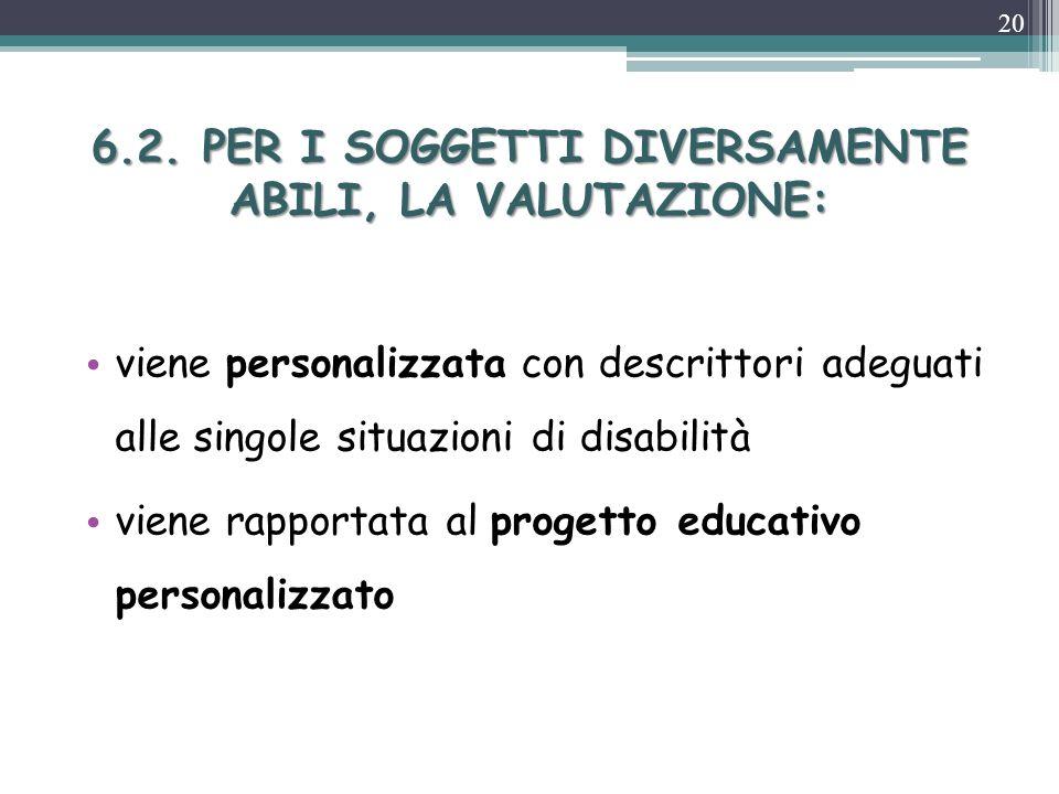 6.2. PER I SOGGETTI DIVERSAMENTE ABILI, LA VALUTAZIONE: