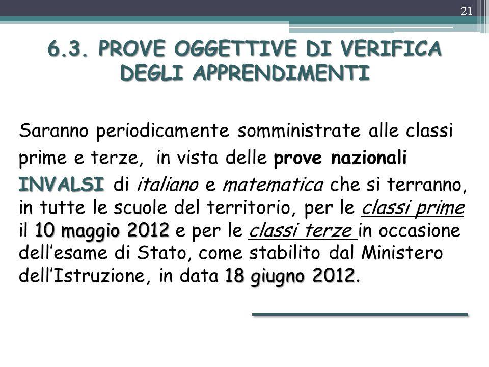 6.3. PROVE OGGETTIVE DI VERIFICA DEGLI APPRENDIMENTI