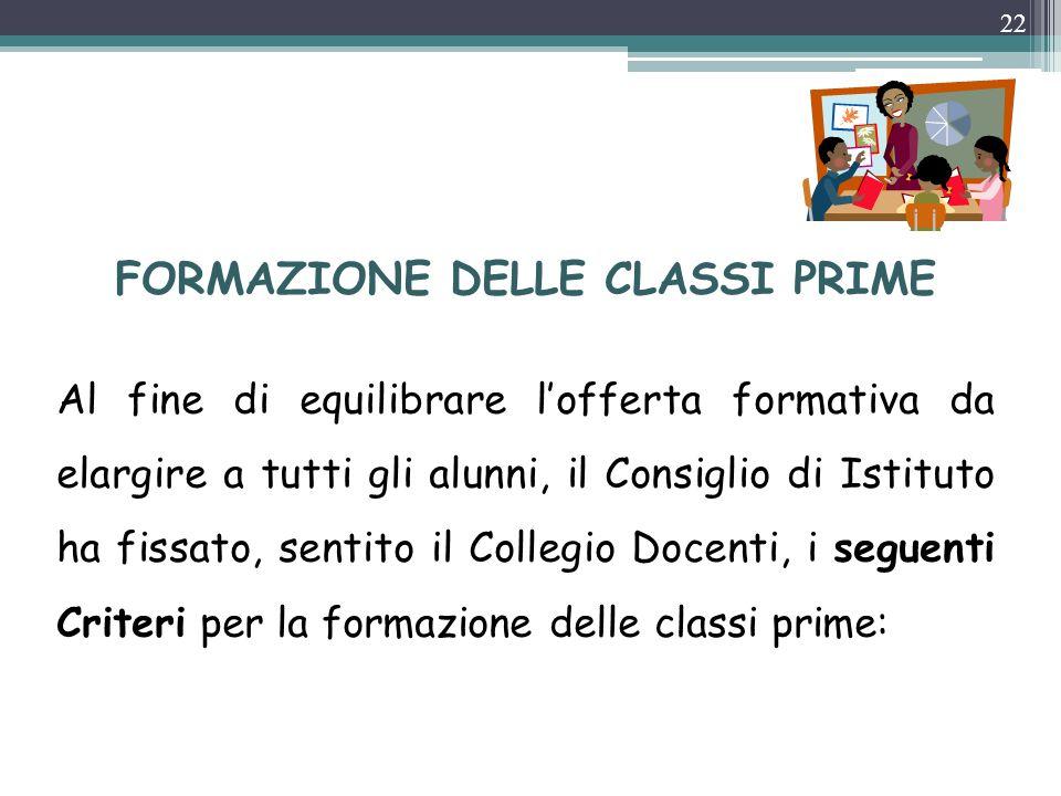 FORMAZIONE DELLE CLASSI PRIME