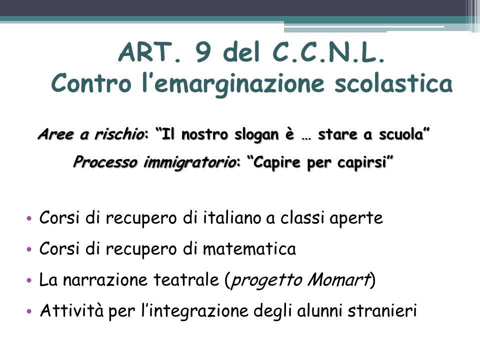 ART. 9 del C.C.N.L. Contro l'emarginazione scolastica