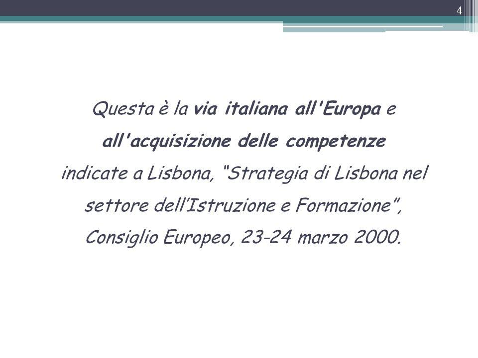 Questa è la via italiana all Europa e all acquisizione delle competenze indicate a Lisbona, Strategia di Lisbona nel settore dell'Istruzione e Formazione , Consiglio Europeo, 23-24 marzo 2000.