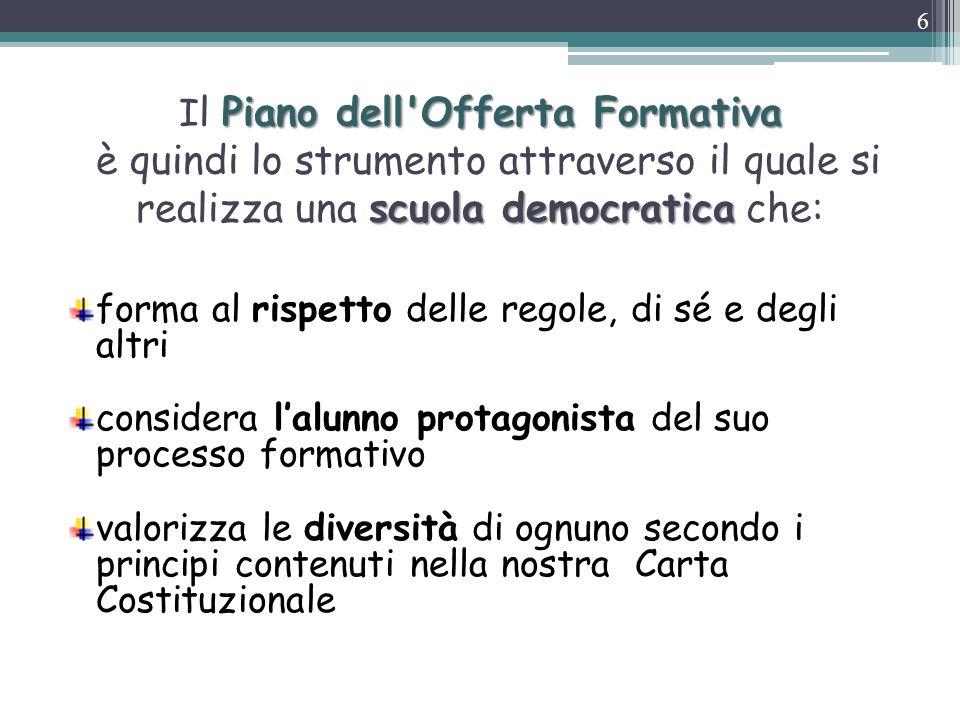 Il Piano dell Offerta Formativa è quindi lo strumento attraverso il quale si realizza una scuola democratica che: