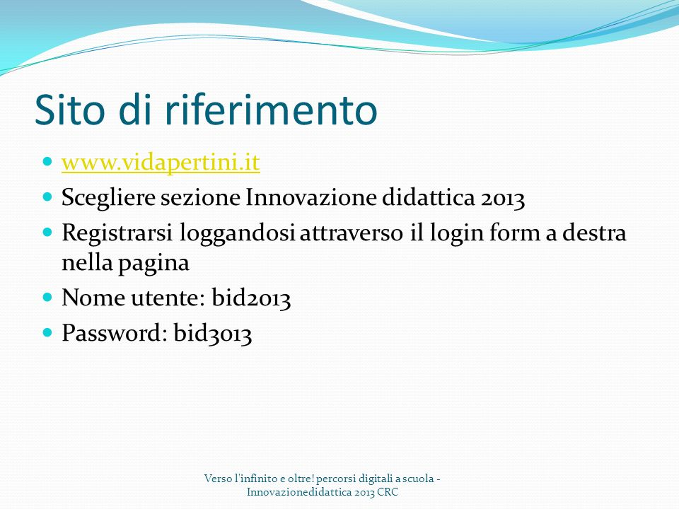 Sito di riferimento www.vidapertini.it