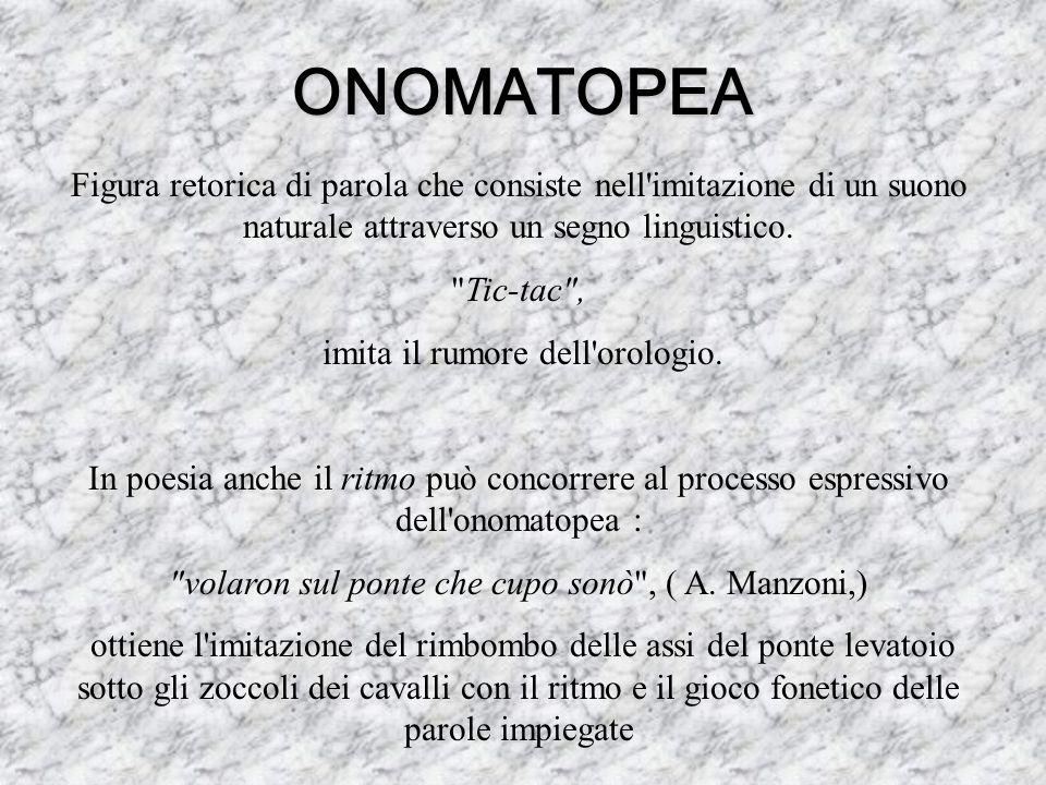 ONOMATOPEAFigura retorica di parola che consiste nell imitazione di un suono naturale attraverso un segno linguistico.