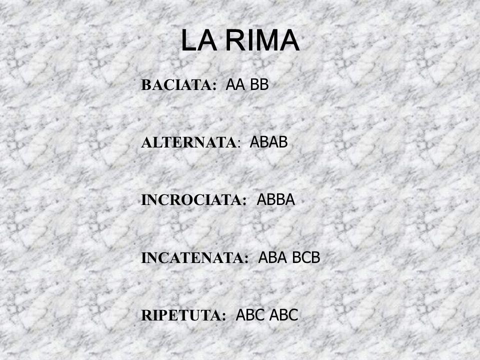 LA RIMA BACIATA: AA BB ALTERNATA: ABAB INCROCIATA: ABBA