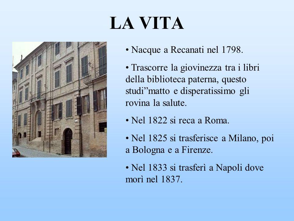 LA VITA Nacque a Recanati nel 1798.