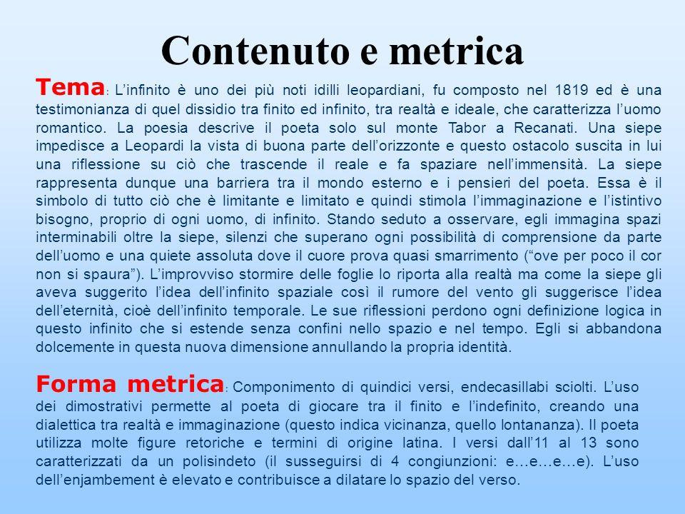 Contenuto e metrica