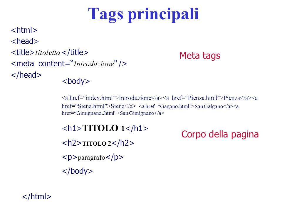 Tags principali Meta tags Corpo della pagina <html> <head>