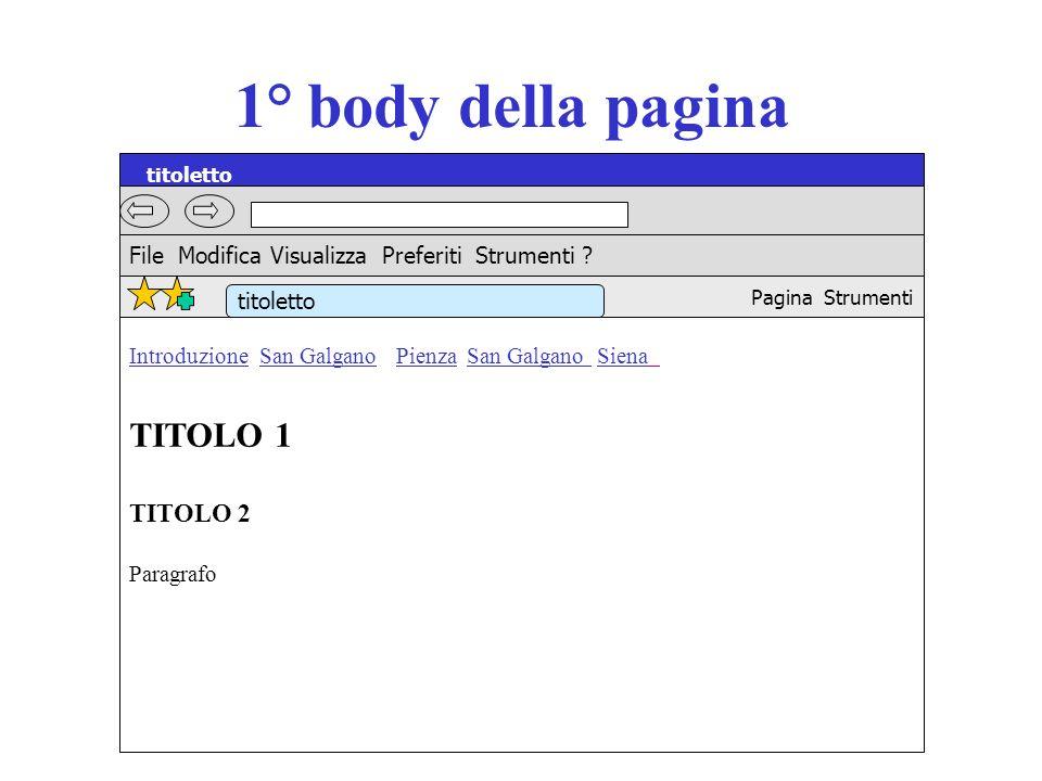 1° body della pagina titoletto TITOLO 1 TITOLO 2