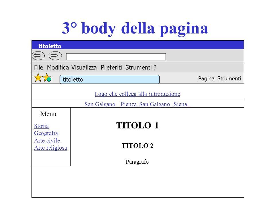 3° body della pagina titoletto TITOLO 1 Menu TITOLO 2