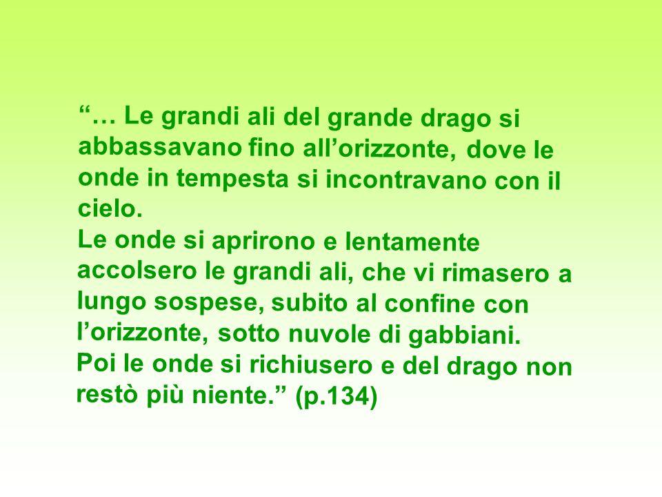 … Le grandi ali del grande drago si abbassavano fino all'orizzonte, dove le onde in tempesta si incontravano con il cielo.