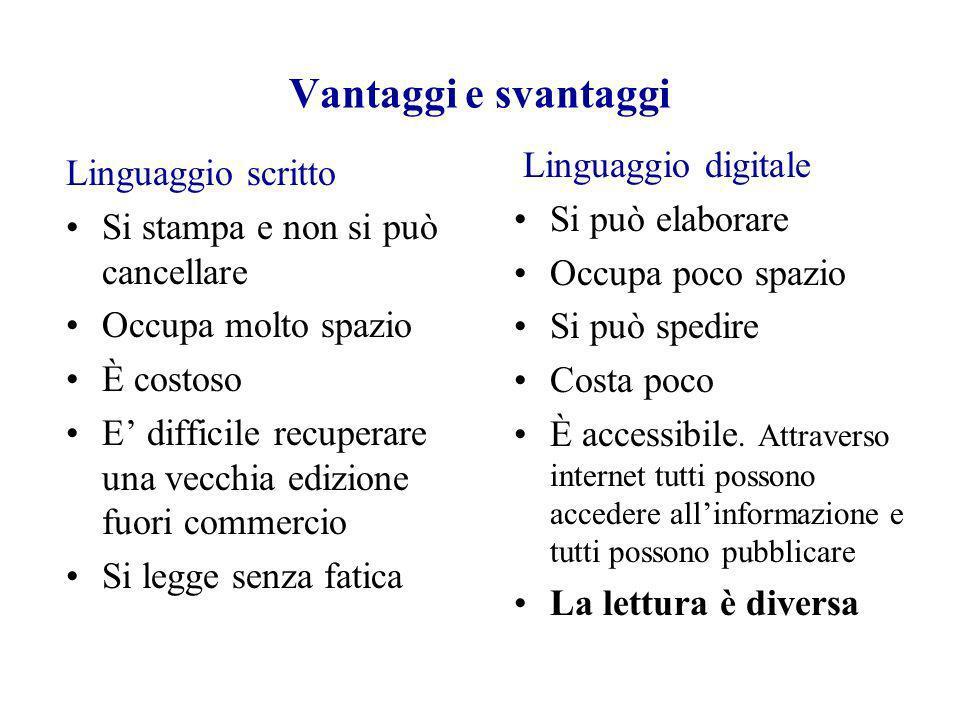 Vantaggi e svantaggi Linguaggio digitale Linguaggio scritto