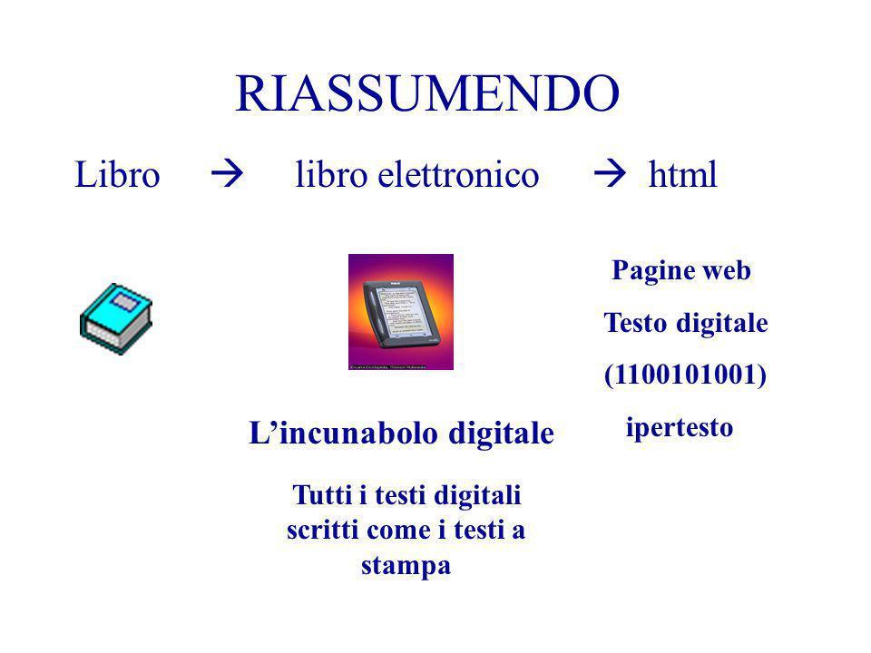 Tutti i testi digitali scritti come i testi a stampa