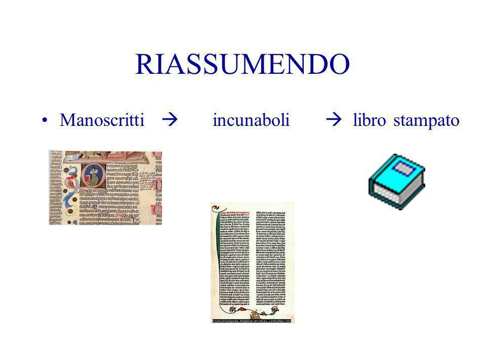 RIASSUMENDO Manoscritti  incunaboli  libro stampato