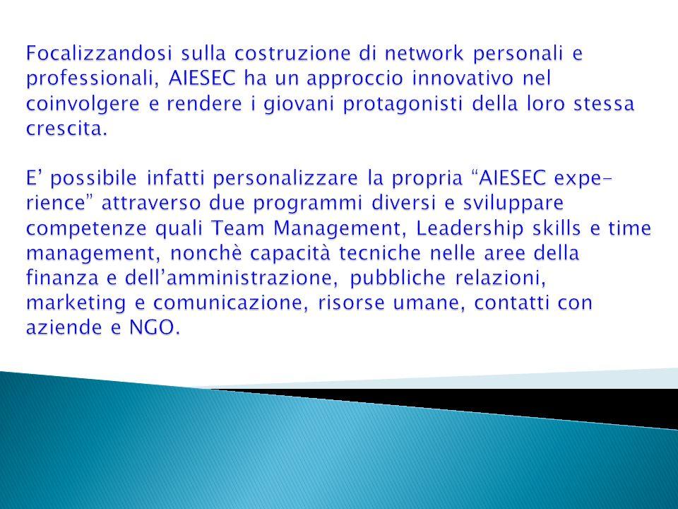 Focalizzandosi sulla costruzione di network personali e professionali, AIESEC ha un approccio innovativo nel coinvolgere e rendere i giovani protagonisti della loro stessa crescita.