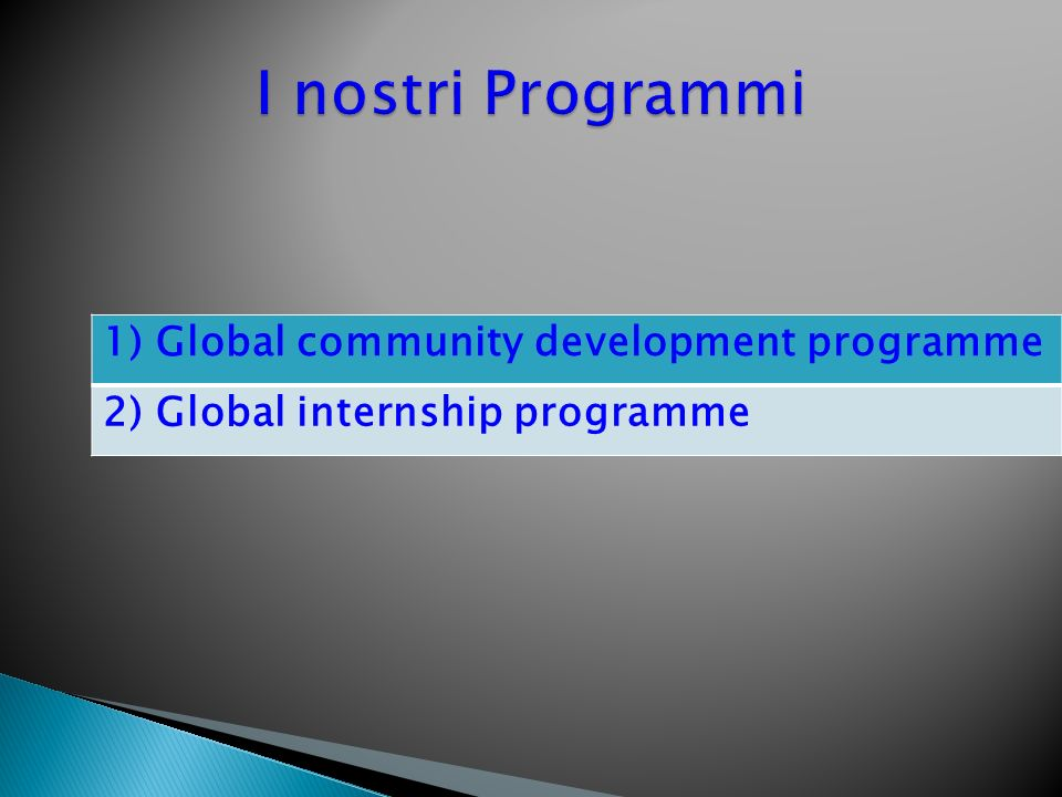 I nostri Programmi 1) Global community development programme