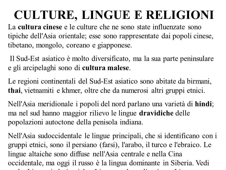 CULTURE, LINGUE E RELIGIONI
