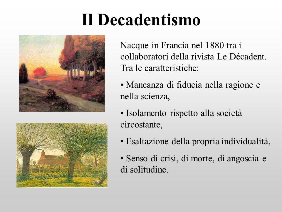 Il Decadentismo Nacque in Francia nel 1880 tra i collaboratori della rivista Le Décadent. Tra le caratteristiche: