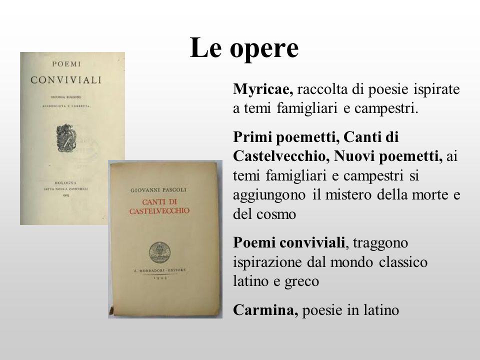 Le opere Myricae, raccolta di poesie ispirate a temi famigliari e campestri.