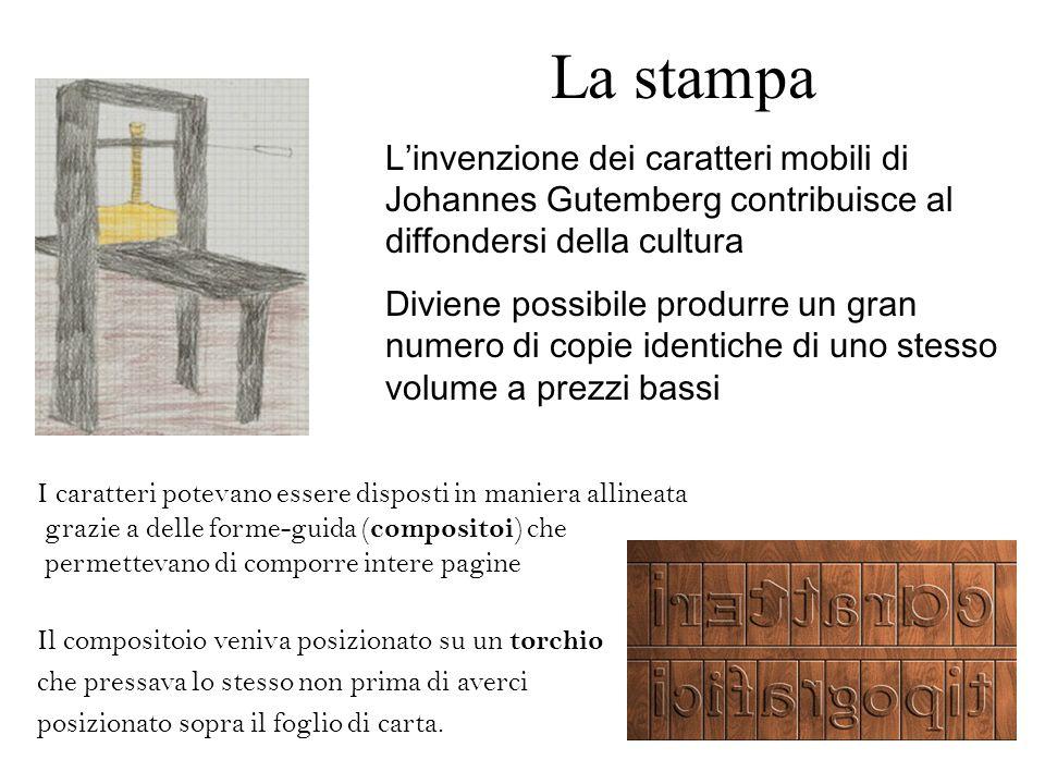 La stampa L'invenzione dei caratteri mobili di Johannes Gutemberg contribuisce al diffondersi della cultura.