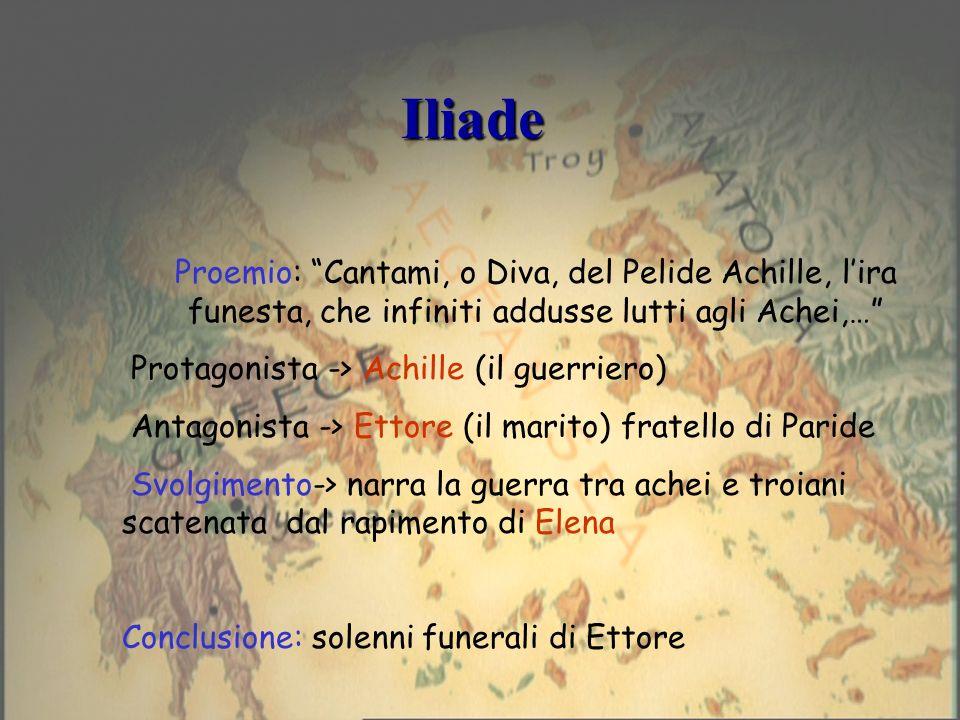 Iliade Proemio: Cantami, o Diva, del Pelide Achille, l'ira funesta, che infiniti addusse lutti agli Achei,…