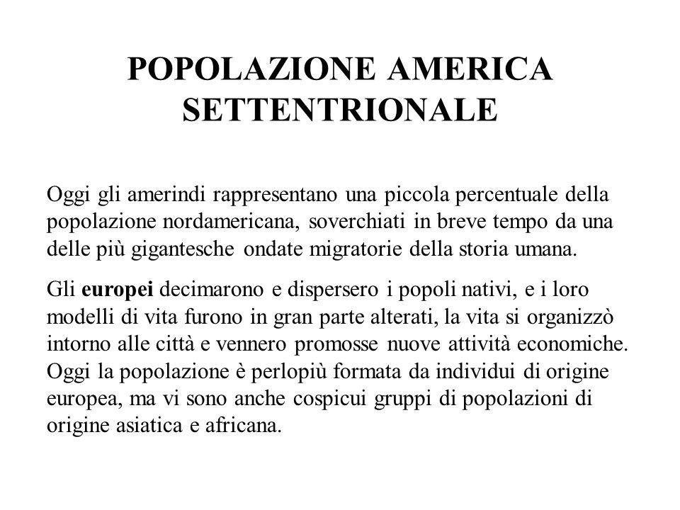 POPOLAZIONE AMERICA SETTENTRIONALE