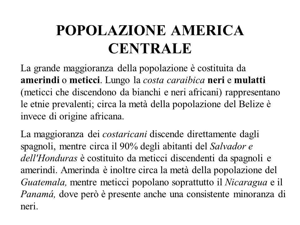 POPOLAZIONE AMERICA CENTRALE