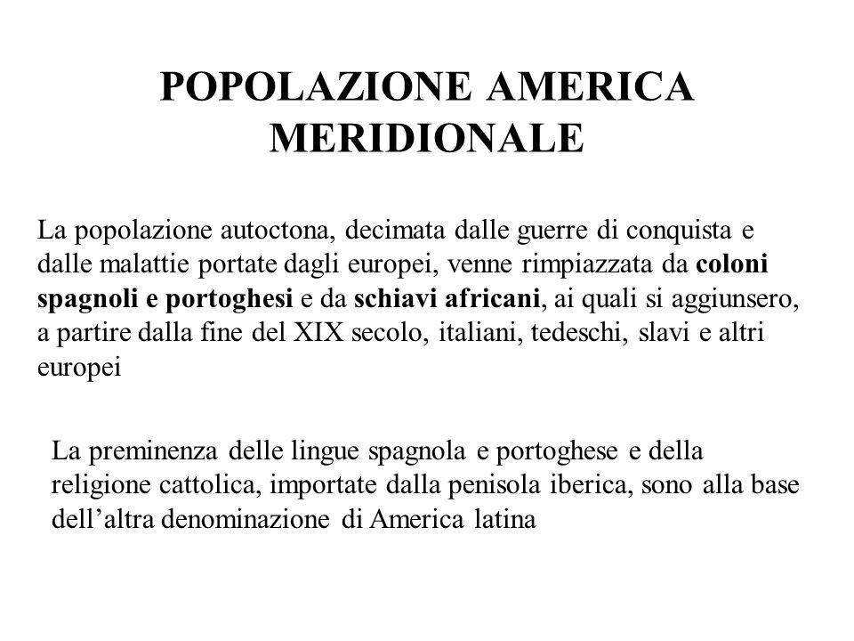 POPOLAZIONE AMERICA MERIDIONALE