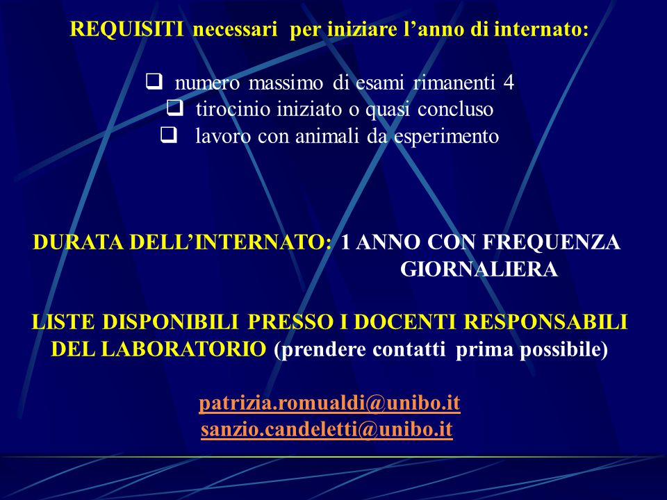 REQUISITI necessari per iniziare l'anno di internato: