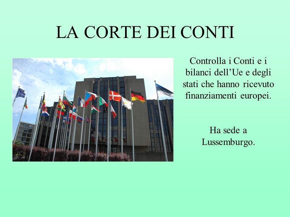 LA CORTE DEI CONTI Controlla i Conti e i bilanci dell'Ue e degli stati che hanno ricevuto finanziamenti europei.