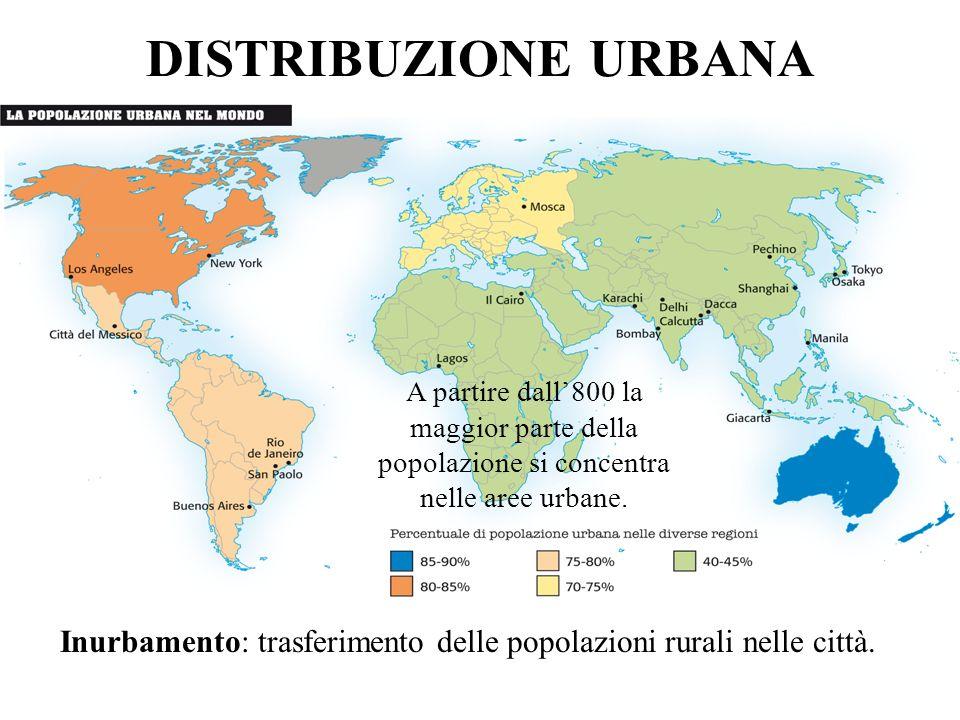 Inurbamento: trasferimento delle popolazioni rurali nelle città.