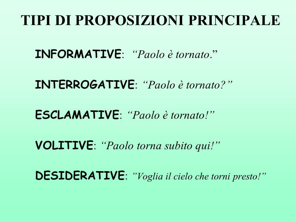 TIPI DI PROPOSIZIONI PRINCIPALE