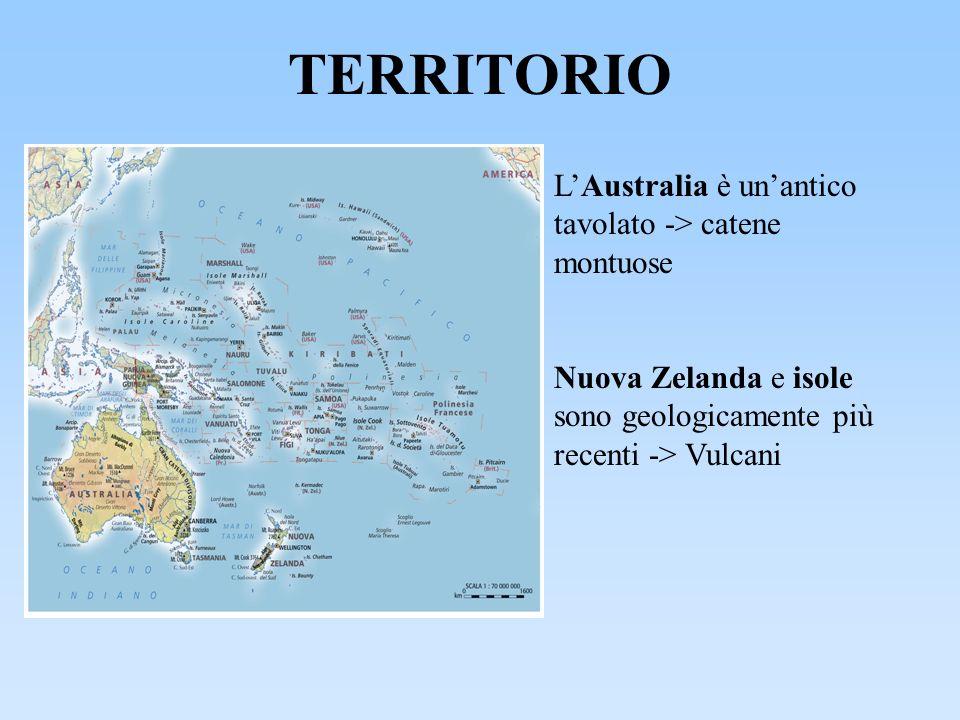 TERRITORIO L'Australia è un'antico tavolato -> catene montuose